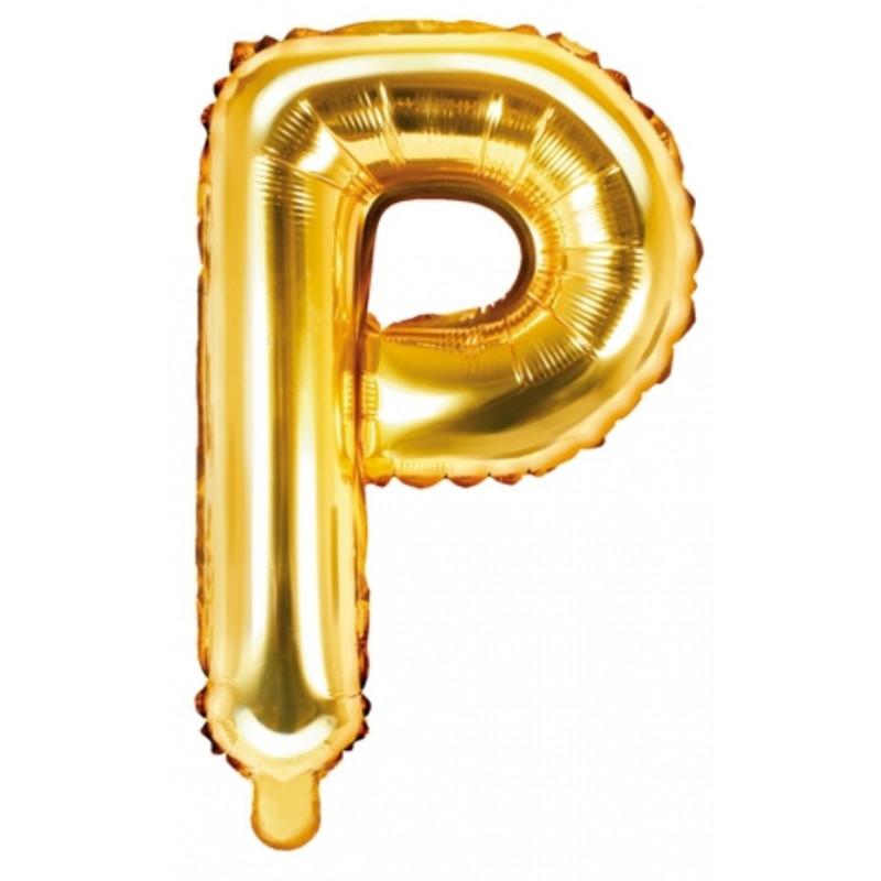 PartyDeco Bokstavsballong P, guld
