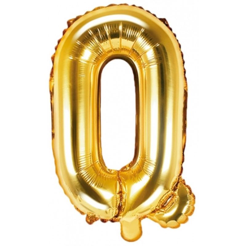 PartyDeco Bokstavsballong Q, guld