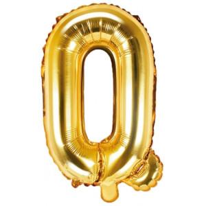 PartyDeco Bokstavsballong Q, 35 cm i guld
