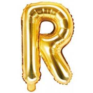 PartyDeco Bokstavsballong R, 35 cm i guld