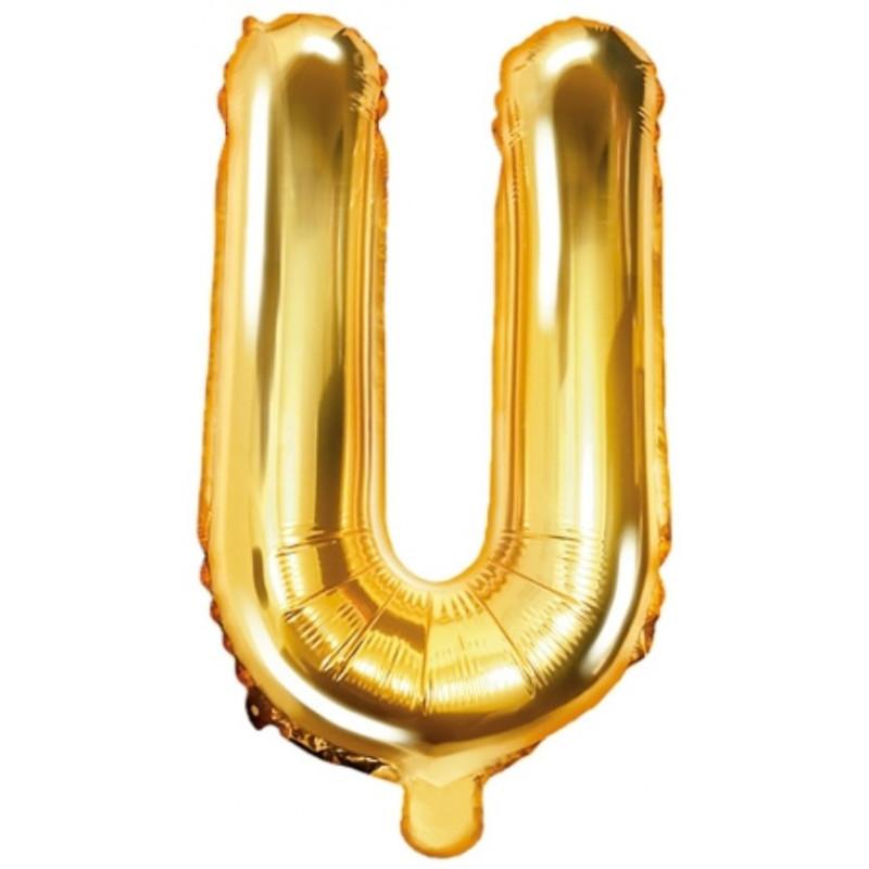PartyDeco Bokstavsballong U, guld