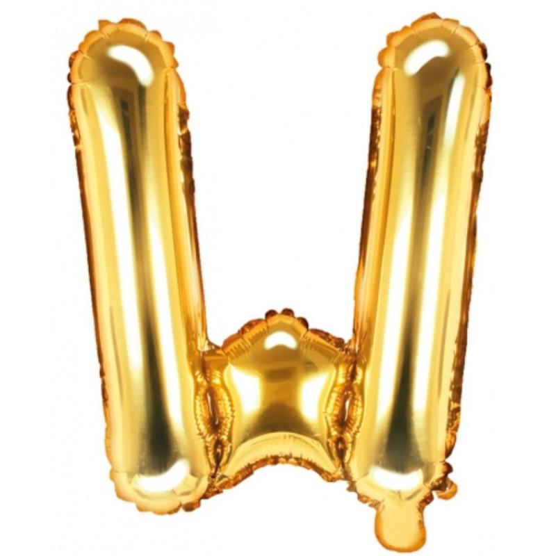 PartyDeco Bokstavsballong W, guld