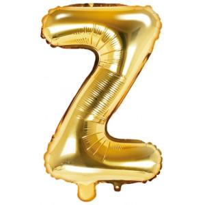 PartyDeco Bokstavsballong Z, 35 cm i guld
