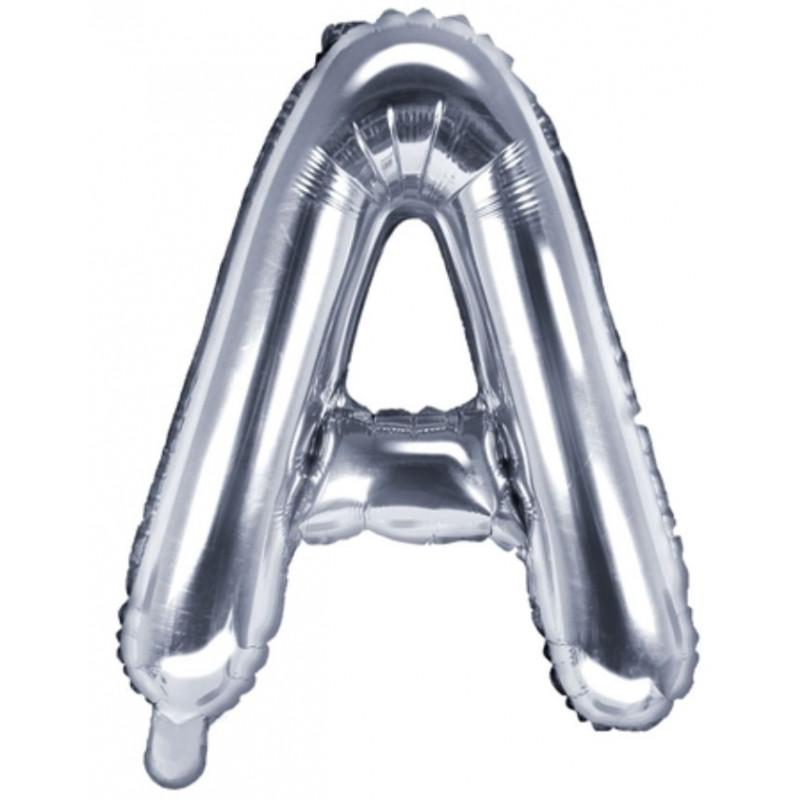 PartyDeco Bokstavsballong A, silver