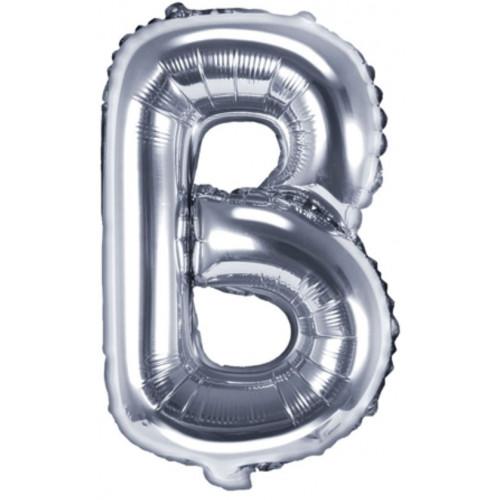 PartyDeco Bokstavsballong B, silver