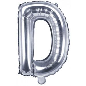 PartyDeco Bokstavsballong D, silver