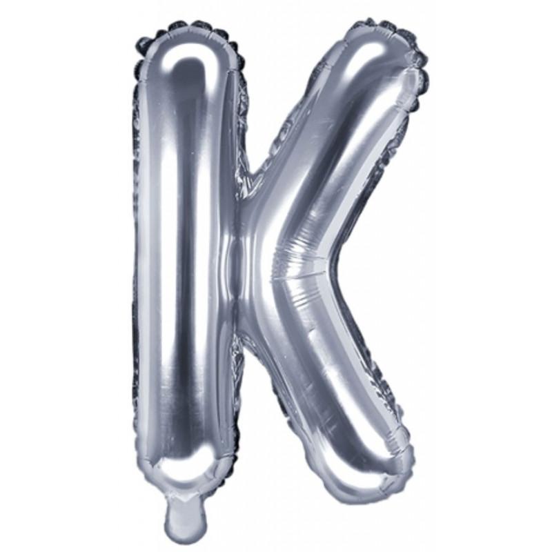 PartyDeco Bokstavsballong K, silver