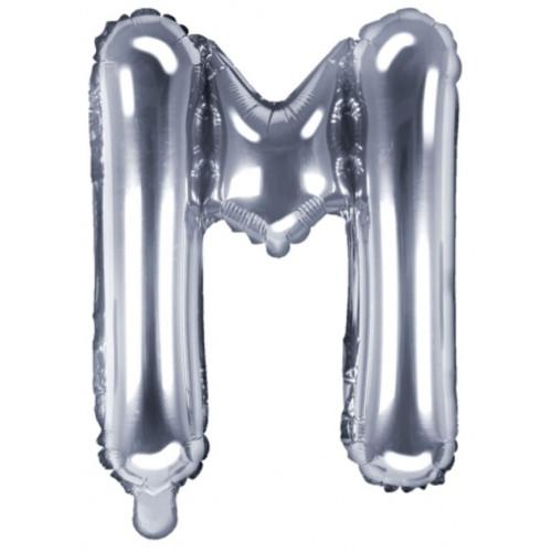 PartyDeco Bokstavsballong M, silver