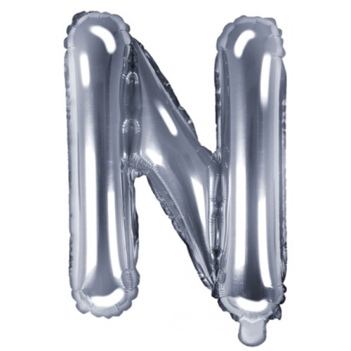 PartyDeco Bokstavsballong N, silver