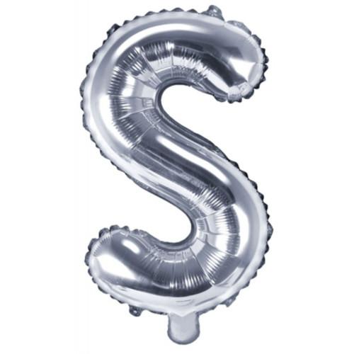 PartyDeco Bokstavsballong S, silver