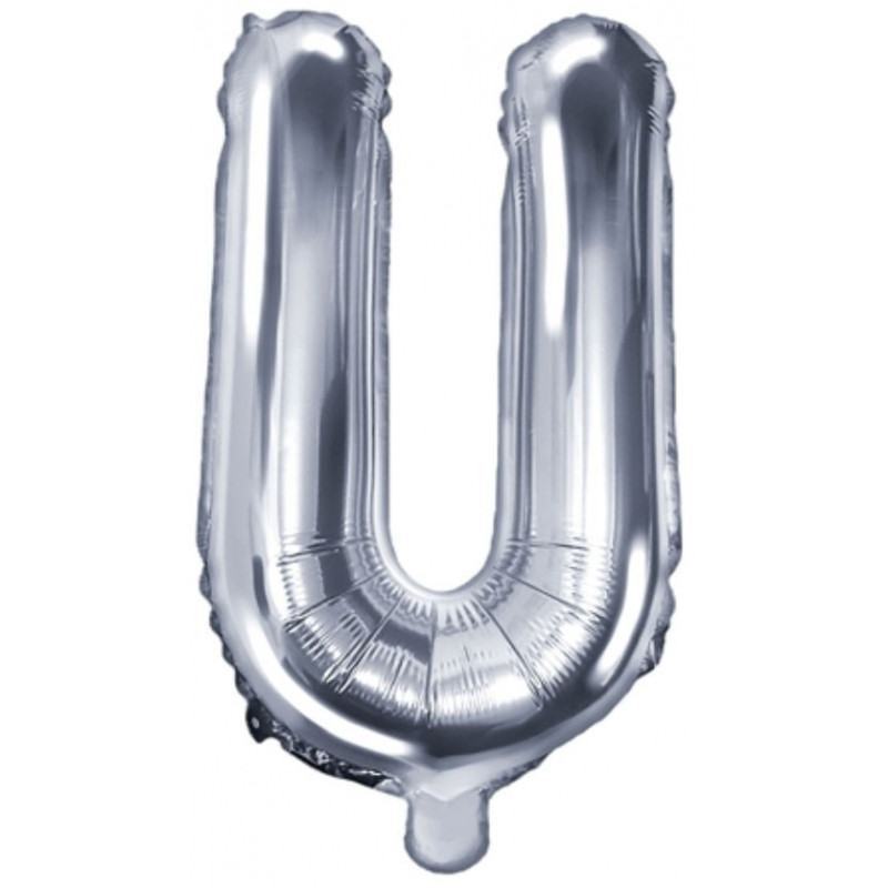 PartyDeco Bokstavsballong U, silver