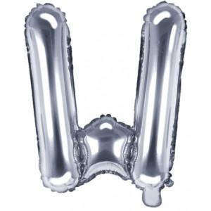 PartyDeco Bokstavsballong W, silver
