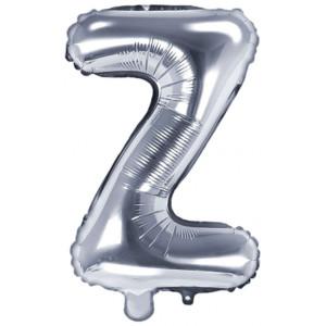 PartyDeco Bokstavsballong Z, silver