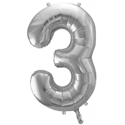 PartyDeco Sifferballong 3, silver, 86 cm