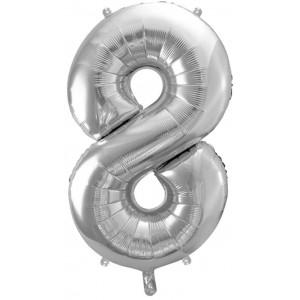 PartyDeco Sifferballong 8, silver, 86 cm