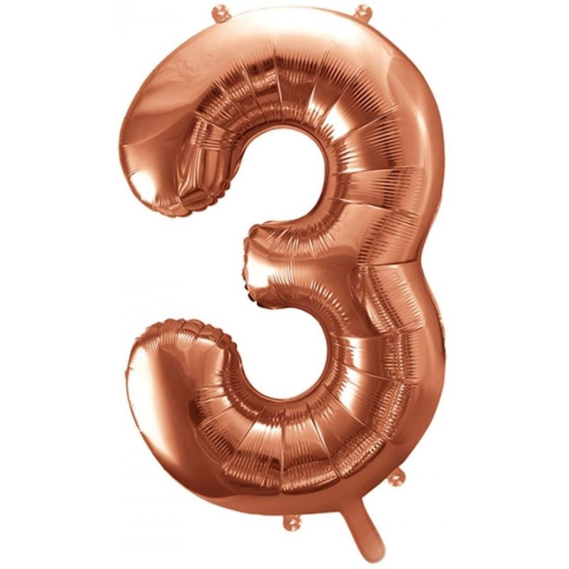 PartyDeco Sifferballong 3, roséguld, 86 cm