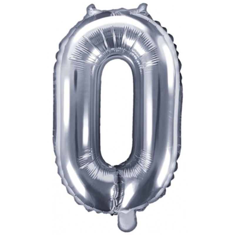 PartyDeco Sifferballong 0, silver, 35 cm