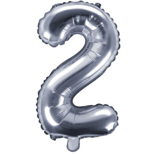 PartyDeco Sifferballong 2, silver, 35 cm
