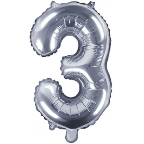PartyDeco Sifferballong 3, silver, 35 cm