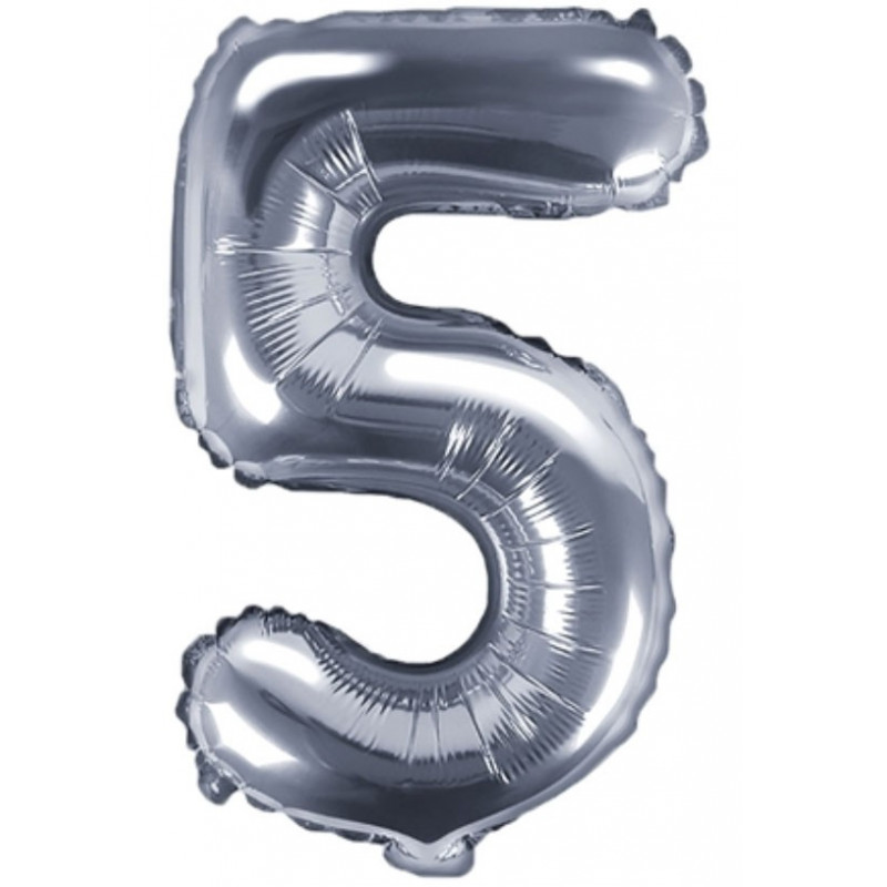 PartyDeco Sifferballong 5, silver, 35 cm