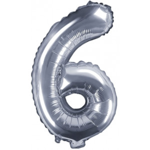 PartyDeco Sifferballong 6, silver, 35 cm