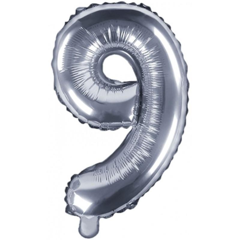 PartyDeco Sifferballong 9, silver, 35 cm