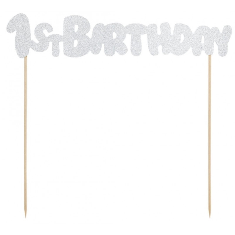 PartyDeco Cake Topper 1st Birthday, silver glitter