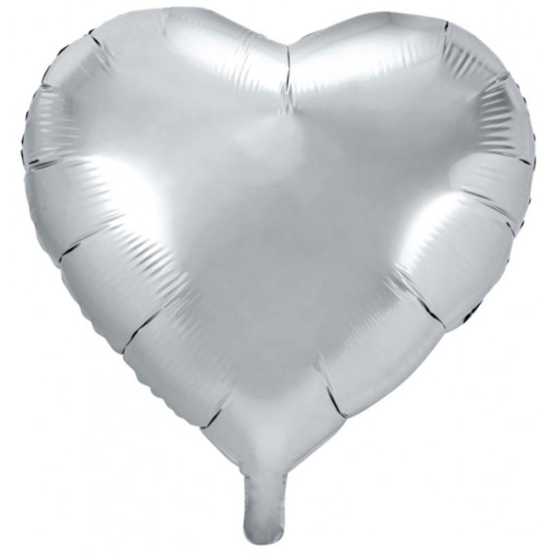 PartyDeco Folieballong Hjärta, silver