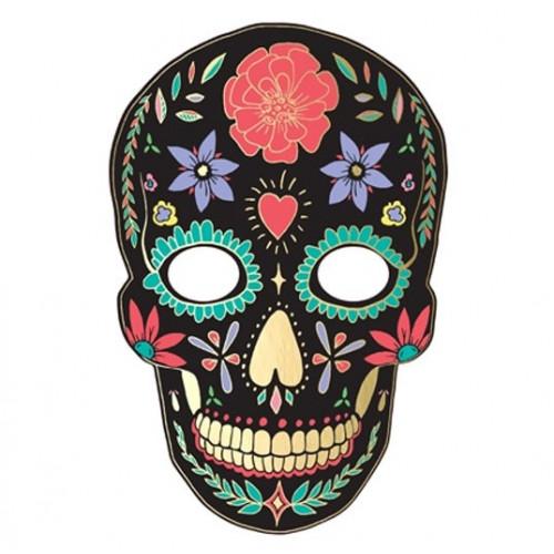 PartyDeco Pappersmask, Dia de Muertos Svart