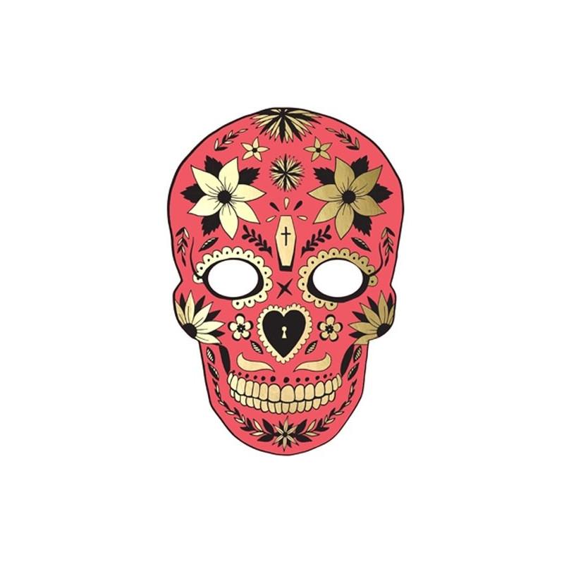 PartyDeco Pappersmask, Dia de Muertos Röd