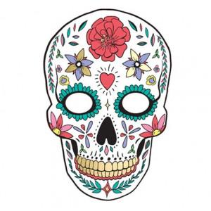 PartyDeco Pappersmask, Dia de Muertos Vit