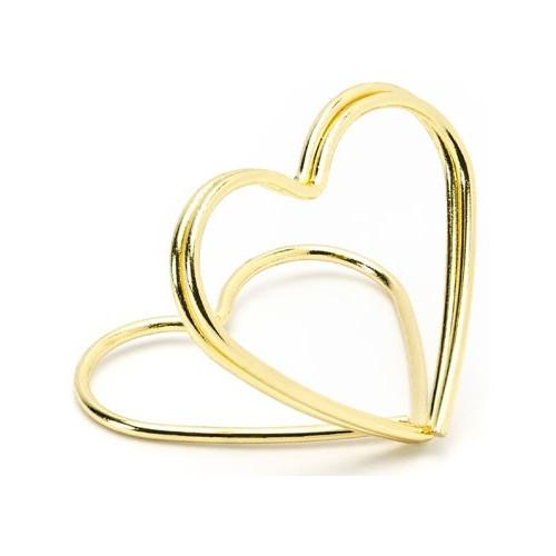 PartyDeco Bordsplaceringshållare Hjärta, Guld