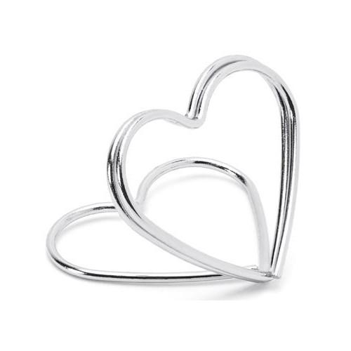 PartyDeco Bordsplaceringshållare Hjärta, Silver