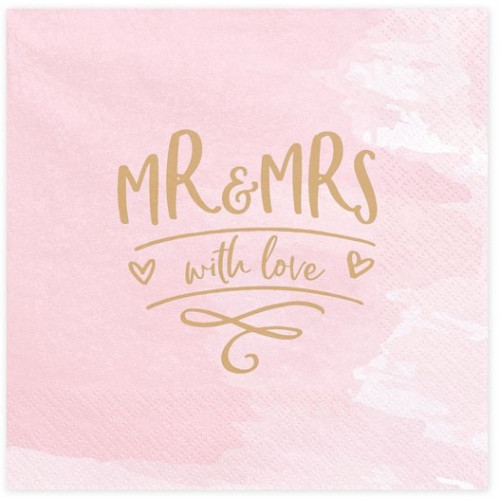 PartyDeco Servetter Mr & Mrs, 20 st