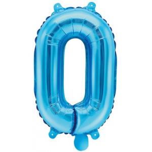 PartyDeco Sifferballong 0, blå, 35 cm