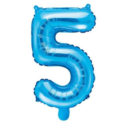PartyDeco Sifferballong 5, blå, 35 cm
