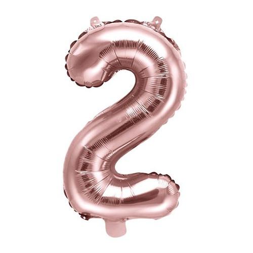 PartyDeco Sifferballong 1, roséguld, 35 cm