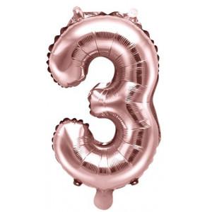 PartyDeco Sifferballong 3, roséguld, 35 cm