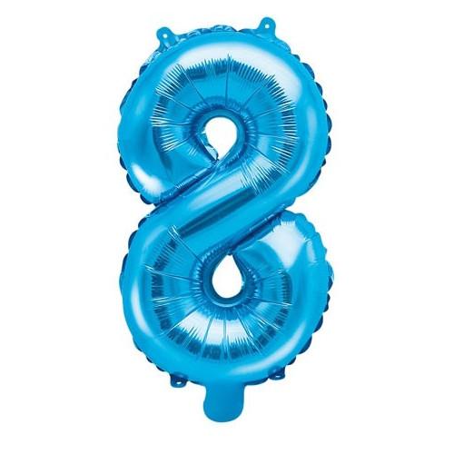 PartyDeco Sifferballong 8, blå, 35 cm
