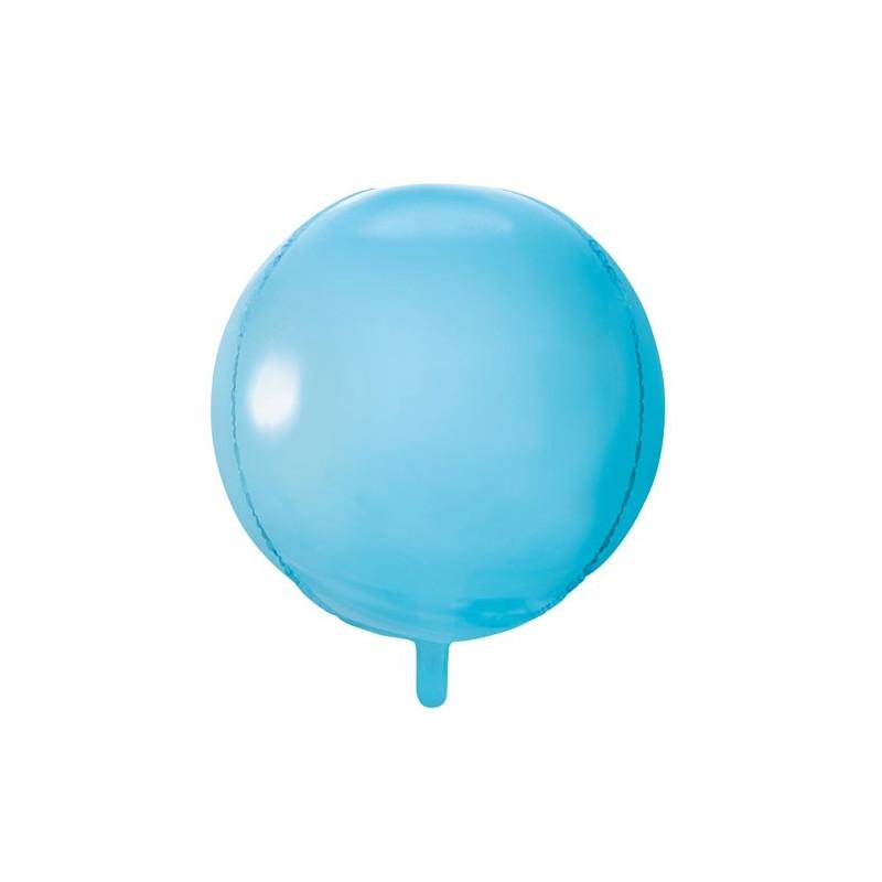 PartyDeco Folieballong Rund, ljusbla