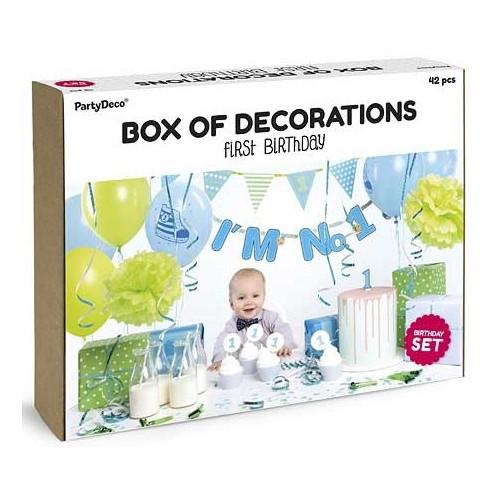 PartyDeco Dekorationsset, Första födesedagen, blå & grön