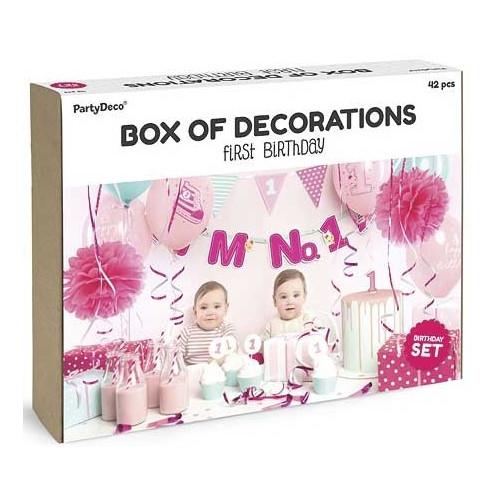 PartyDeco Dekorationsset, Första födesedagen, rosa & mint