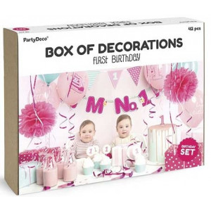 PartyDeco Dekorationsset, Första födelsedagen, rosa & mint