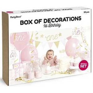 PartyDeco Dekorationsset, Första födelsedagen, rosa