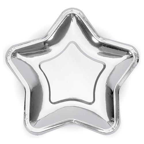PartyDeco Papperstallrikar, Stjärna silver 18 cm