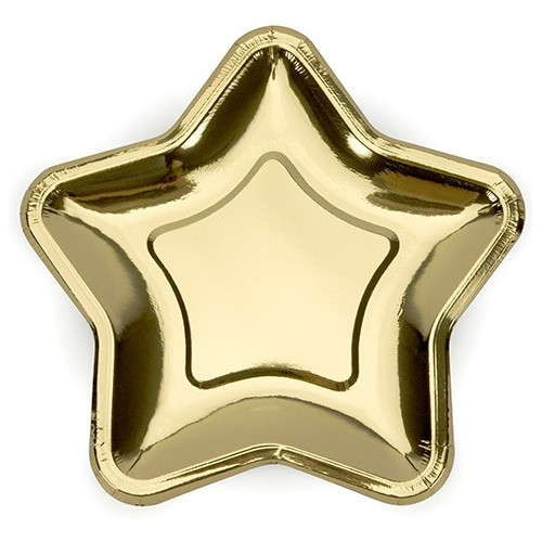 PartyDeco Papperstallrikar, Stjärna guld 23 cm