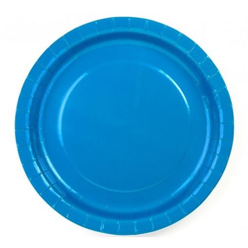 PartyDeco Papperstallrikar, Blå 23 cm
