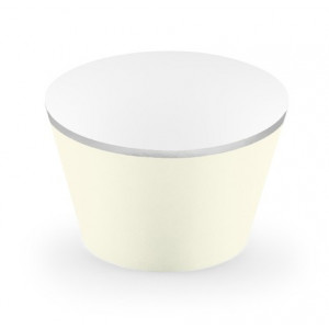 PartyDeco Cupcake Wrappers Creme med silverkant