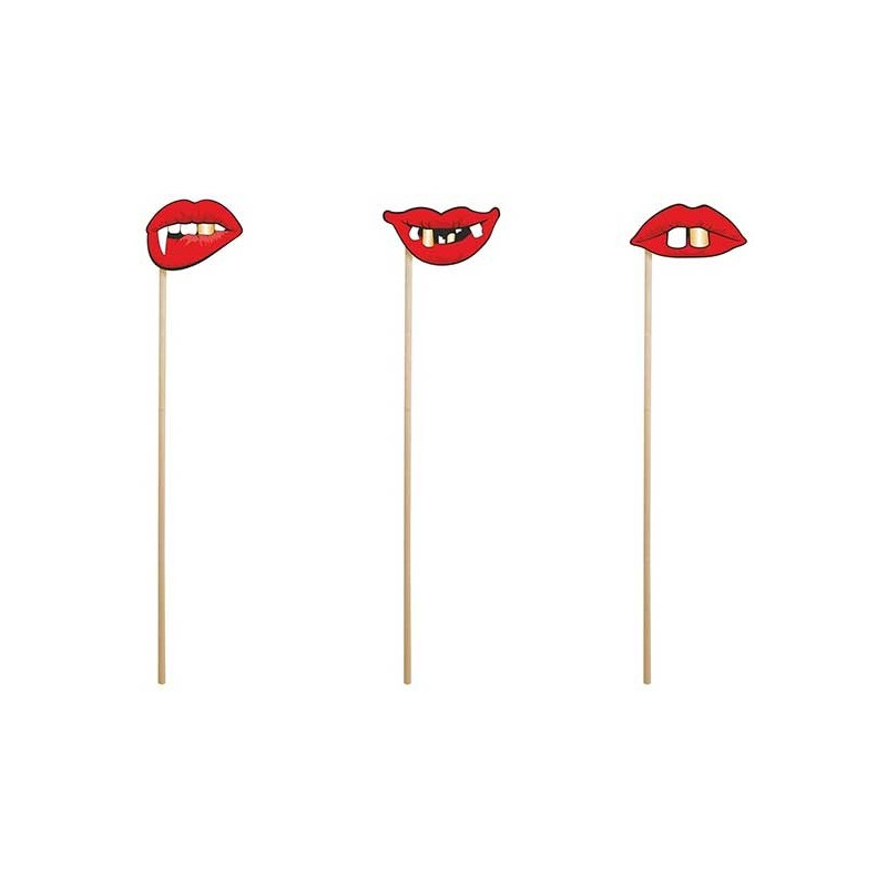 PartyDeco Props on a stick, Halloween Lips