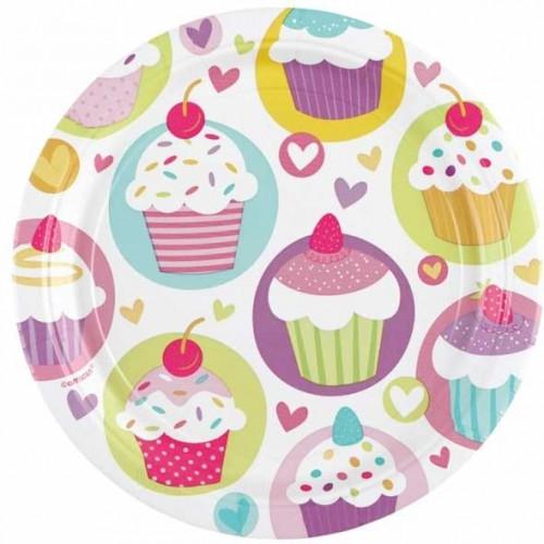 Amscan Papperstallrikar, Cupcake 18cm